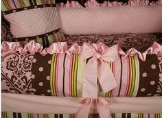 baby girl rooms with green and brown | damask polka dot stripes pink and brown baby girl bedding crib nursery