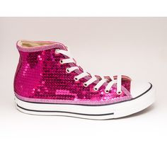 Sequin Hot Fuchsia Pink Converse All Star Hi Top Canvas Sneaker Tennis... ($135) ❤ liked on Polyvore featuring shoes, sneakers, silver, sneakers & athletic shoes, tie sneakers, women's shoes, tennis shoes, tennis sneakers, silver sequin sneakers and pink shoes