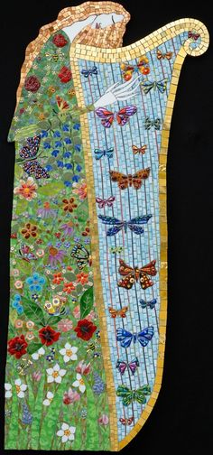 "Muse   24"" x 49""  glass, porcelain, millefiori, gold, beads, fused glass butterflies  2012"