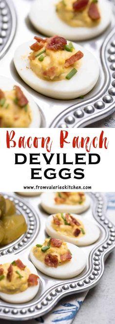 Healthy Deviled Eggs, Devilled Eggs Recipe Best, Bacon Deviled Eggs, Deviled Eggs Recipe, Scrambled Eggs, Bacon Egg, Egg Recipes, Appetizer Recipes, Bacon Appetizers