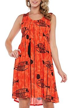 Kaktus Womens Sleeveless Knee Length Fish Print Plus Size Dress Orange 3X *** Click image to review more details. (This is an affiliate link)