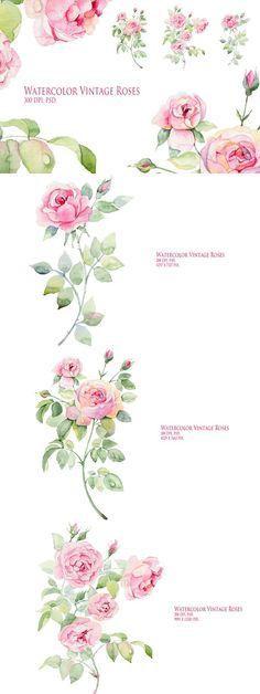 Watercolor Roses. Wedding Card Templates. $9.00