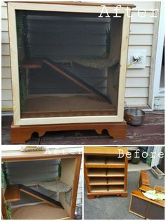 Old dresser turned into bearded dragon terrarium!