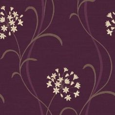 Mia Mulberry (597712) - Arthouse Wallpapers - A pretty stylised agapanthus lily flower vertical trail.  Drawn here in cream on a deep mulberry purple light weave textured background.  Please ask for sample for true colour match.
