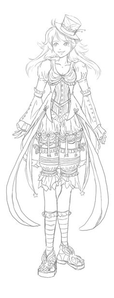 Day Design WIP part 2 by darthmer-mer on deviantART - Wendy Schultz… Coloring Pages To Print, Coloring Book Pages, Printable Coloring Pages, Style Steampunk, Colorful Drawings, Digi Stamps, Copics, Anime, Deviantart