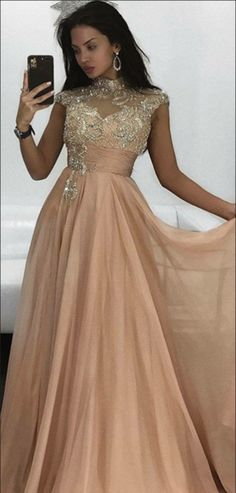 a9f341a9f1f Exquisite A-Line High Neck Cap Sleeves Chiffon Long Prom Dresses With  Beading