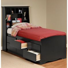 Twin Size Black Sonoma Tall Slant-back Bookcase Headboard