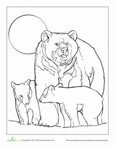 Mama Grizzly is very protective of her cubs! Share some quality coloring time with your little cub, and give this bear family some bright colors.
