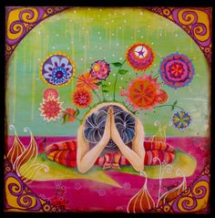 A colorful namaste.(by Marlene Koenig) Yoga Zen, My Yoga, Mantra, Yoga Kunst, Hata Yoga, Yoga Painting, Matthieu Ricard, Kundalini Meditation, Yoga Illustration
