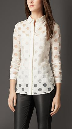 Polka Dot Fil Coupé Shirt from Burberry. Shop more products from Burberry on Wanelo. Classy Outfits, Cool Outfits, Fashion Outfits, Lace Tops, Chiffon Tops, Casual Chic, Casual Wear, Pakistani Dresses, Polka Dots