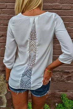 transform a too-tight shirt in my wardrobe? or add lace insert into a men's shirt refashion Diy Clothing, Sewing Clothes, Clothes Refashion, Shirt Refashion, Clothes Crafts, Diy Fashion, Ideias Fashion, Fashion Top, Fashion Clothes