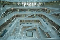 Inside the new library in Stuttgart Innovation, Germany, Stairs, Mansions, House Styles, Home Decor, Stuttgart, Stairway, Decoration Home