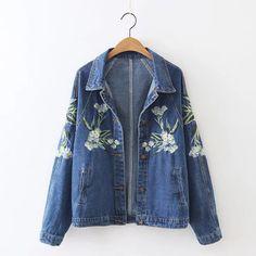 High Quality Embroidery Washed Denim Coat Women Autumn Cowboy Jacket Long Sleeve Turn Down Collar Jacket Outwear GA8310-1105