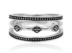 Harley-Davidson .925 Silver Triple Band B&S Womens Ring (6)  http://bikeraa.com/harley-davidson-925-silver-triple-band-bs-womens-ring-6/