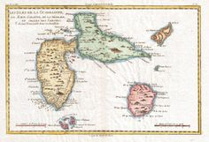 The islands of Guadeloupe, Marie-Galante, and La Désirade, and the Îles des Saintes (1780), by Rigobert Bonne (1727-1795).