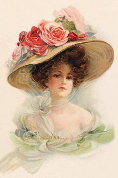Lady With Roses On Her Hat  New 4x6 Photo Print  by PostcardMuse