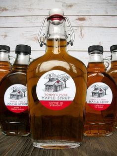 8c9b9fc4e1b Custom Sugar Shack Maple Syrup Bottle Labels printed with your text