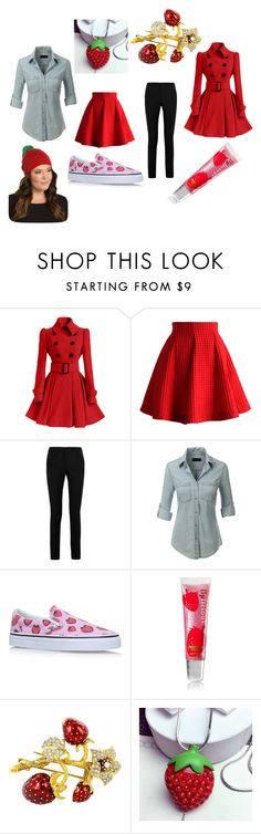 """Strawberry"" by viktoria-kovacs-ferencz on Polyvore featuring Chicwish, Yves Saint Laurent, LE3NO, Vans and Torrid"
