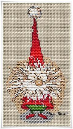 Author's scheme for embroidery Averina Lena. Santa Cross Stitch, Cross Stitch Thread, Mini Cross Stitch, Modern Cross Stitch, Cross Stitch Designs, Cross Stitching, Cross Stitch Embroidery, Cross Stitch Patterns, Cross Stitch Christmas Ornaments