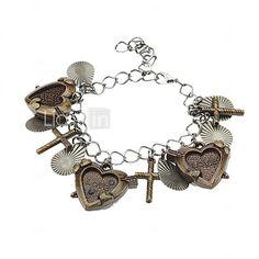 USD $ 1.99 - Heart With Cross Vintage Bracelet