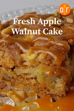 A moist, lightly spiced cake loaded with walnuts and chunks of apples. Apple Walnut Cake Recipe, Apple Cake Recipes, Pound Cake Recipes, Easy Cake Recipes, Sweet Recipes, Baking Recipes, Dessert Recipes, Fresh Apple Cake, Fresh Apples