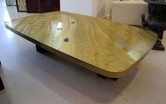 Brass Labradorite Coffee Table - Christian Krekels- Signed 1970s