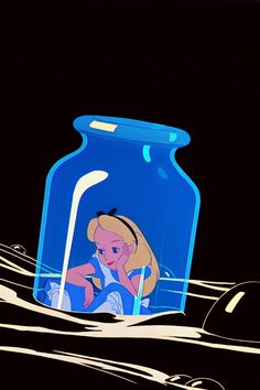 "Alice in Wonderland I wish I'd hadn't cried so much in Wonderland! Alice floating in ""The Drink Me Bottle! "" sho buz"