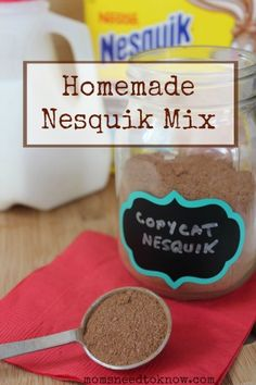"Homemade Nesquik Mix Recipe - this recipe is so stinkin' easy and so much cheaper than buying it in the store (and there are no added ""mystery ingredients"")"