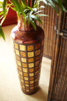 Display bamboo in the intricate Pier 1 Terracotta Multicolor Vase
