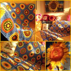 "Look at this gorgeous ""Sunflower Afghan""! This pattern I'm sure is the ""Squaring the Big Circle Tutorial"" by Signed with an Owl."