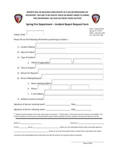 Sample Fire Incident Report Examples Pdf Word Construction
