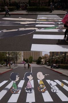 """Street Art: The Peanuts gang crossing """"Abbey Road"""" is an impressive painted optical illusion."""