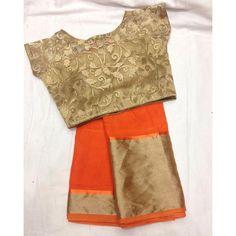 """Bright and bold orange saree with gold blouse To purchase mail us at… Gold Blouse, Saree Blouse, Saree Jackets, Orange Saree, Sari Blouse Designs, Blouse Models, Stylish Sarees, Elegant Saree, Fancy Sarees"
