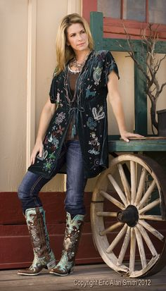 Cindy in Wickenburg. She is a wearing Double D Ranch velvet top and boots.