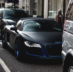 Satin black and chrome blue trim Audi Spyder Porsche 911 Targa, Porsche Cayman 987, Audi R8 V10, Indian Scout, Toyota Mr2, Road King Classic, Harley Davidson Dyna, Nissan Skyline, My Dream Car