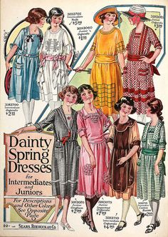 Dainty Spring Dresses for 1920s tweens and teens (aka, intermediates and juniors, back in the day)