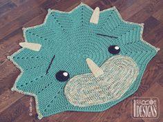 Crochet Pattern PDF for making a cute Triceratops DIno Dinosaur Rug by IraRott…