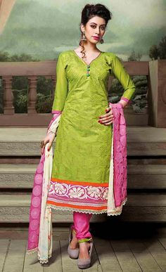 USD 26.17 Green Chanderi Silk Churidar Suit 50688