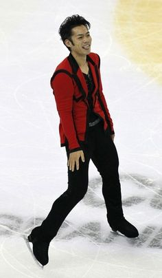 Daisuke Takahashi of Japan reacts after his performance during the men's short program at ISU Grand Prix of Figure Skating Cup of China Figure Skating competition in Shanghai, China on Friday Nov. 2, 2012.