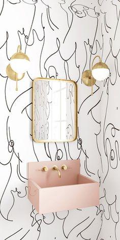 Home Interior Decoration .Home Interior Decoration Kitchen Tiles Design, Kitchen Wall Tiles, Tile Design, Pink Kitchen Walls, Design Color, Design Design, Interior Design Minimalist, Contemporary Interior Design, Contemporary Wallpaper
