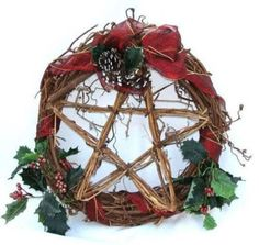 Winter Solstice:  Craft a pretty pentacle wreath decorated with holly.