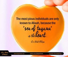 """The most pious individuals are only known to Allaah, because the """"sea of taqwaa"""" is the heart. Man can only judge people by each other's outward deeds which, may or may not be misleading. Muslim Quotes, Islamic Quotes, Hindi Quotes, The Ultimate Quotes, The Heart Of Man, Allah Islam, Meaning Of Life, Picture Quotes, Quran"""