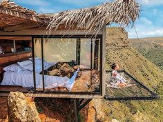 """After seeing pictures of the stunning Refugio La Roca Hotel in Colombia, you'll add it to your travel bucket list ASAP. It's the ideal place for being one with woodhouse The View From This Hotel Room in Colombia With a Suspended Net """"Balcony"""" Is Unreal Urban Balcony, Location Airbnb, Balcony Curtains, Voyager Loin, Home Improvement Loans, Bohemian Bedroom Decor, Modern Bohemian, Boho Chic, Bohemian Style"""