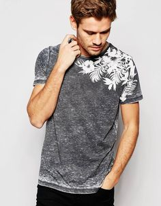 Image 1 of ASOS T-Shirt With Burn Out Wash And Leaf Floral Print