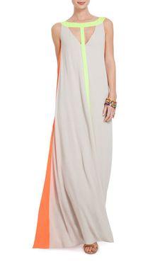 Wilah Color-Blocked Cutout Maxi Dress