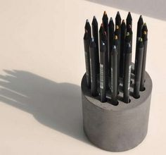 DIY Cement Pencil Holder. Concrete isn't just for the infrastructure and base of certain buildings. You can use concrete in a variety of DIY projects, and infuse it into everyday products. http://hative.com/cool-diy-concrete-project-ideas/