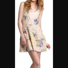 Juicy Couture Rose Beaded Racerback Dress Rose dress with floral blue and yellow beaded pattern. Juicy Couture Dresses Mini