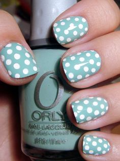 """Orly's """"Gumdrop"""" topped with dots by Sally Hansen's Nail Art Pen in white."""