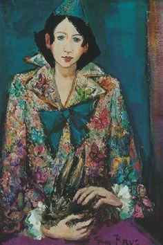 Germaine Brus, Pierrot Fauvism, Impressionism, Portrait, Canvas, Painting, Color, Art, Fauvism Art, Tela