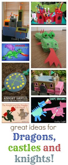Great ideas for all things dragons, castles and knights (Christmas Activities Camping Theme, Camping Crafts, Knights And Castles Topic, Fairy Land, Fairy Tales, Castle Crafts, Art For Kids, Crafts For Kids, Stages Of Baby Development